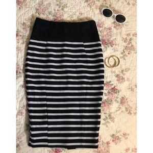 Navy & White Pencil Skirt